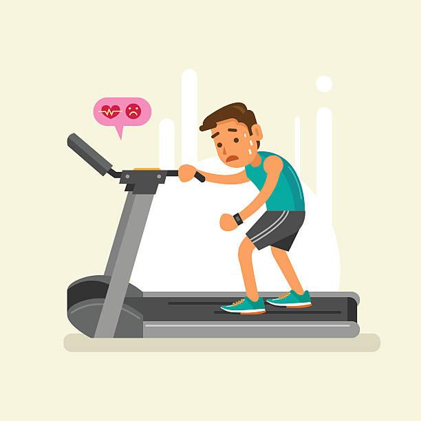stockillustraties, clipart, cartoons en iconen met exhausted man on a treadmill. vector illustration - vermoeidheid