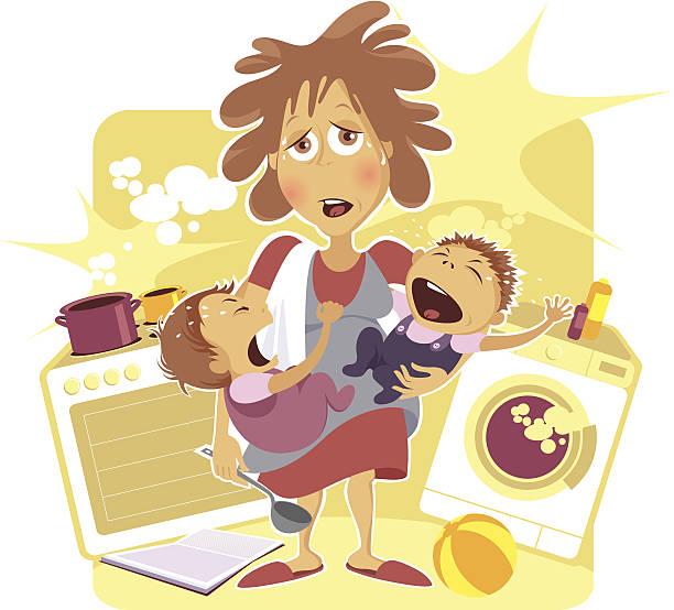 ilustrações de stock, clip art, desenhos animados e ícones de esgotada mãe. - fail cooking