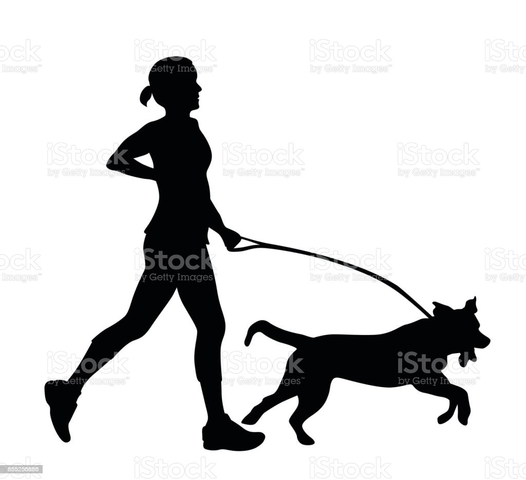 Exhausted Owner Excited Dog vector art illustration