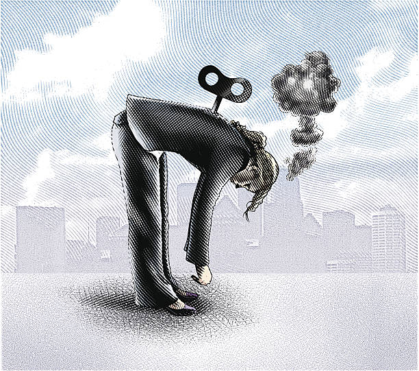 Exhausted Woman Engraving style illustration of a wind-up toy as a metaphor for an exhausted businesswoman. mental burnout stock illustrations