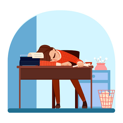 Exhausted writer character sleeping at workplace