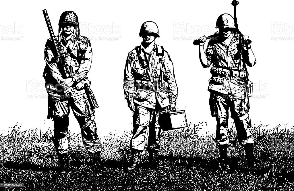 Exhausted WW2 Machine Gun Crew Soldiers vector art illustration