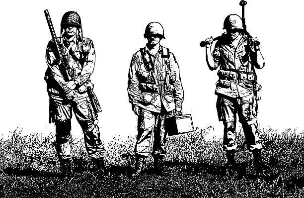 exhausted ww2 machine gun crew soldiers - world war ii stock illustrations, clip art, cartoons, & icons