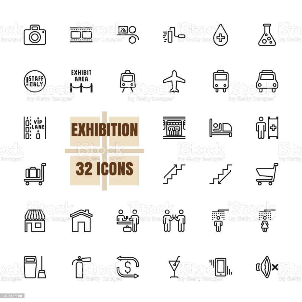 Exhibition and Community vector thin line 48x48 Pixel Perfect 32 icon set vector art illustration