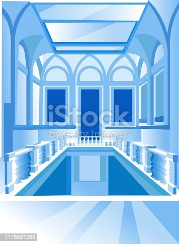 Museum or Palace Interior, Second Floor View with Column Fence, Gallery with Glass Roof, Exhibition Architecture Design Project in Classical Style with Arched Ceiling, Cartoon Flat Vector Illustration