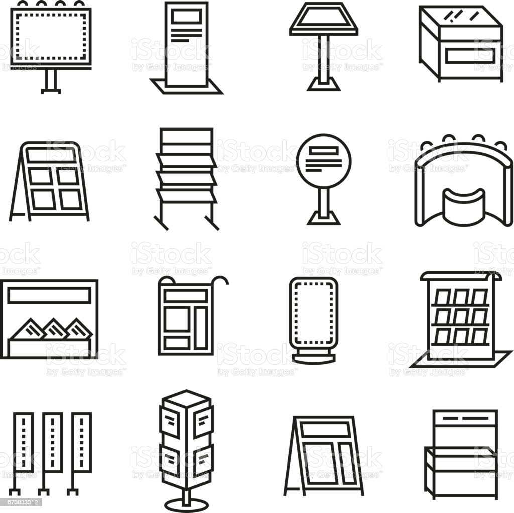 Exhibition banner stands, promo display line vector icons vector art illustration