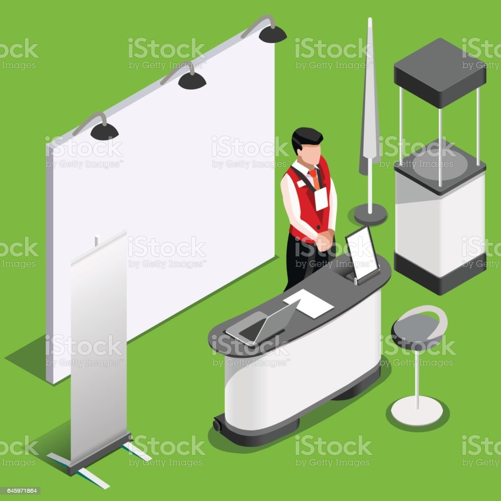 Exhibition Booth Vector : Exhibition booth d stand people isometric vector