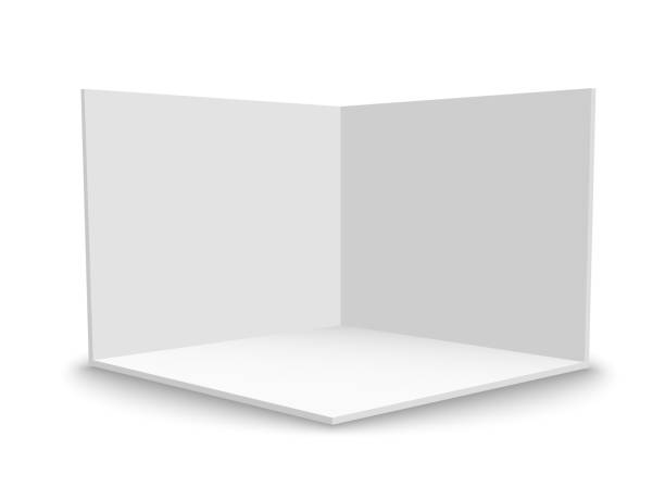 3D exhibition booth. Square corner. Vector white empty geometric square. Blank box template 3D exhibition booth. Square corner. Vector white empty geometric square. Blank box template no people stock illustrations