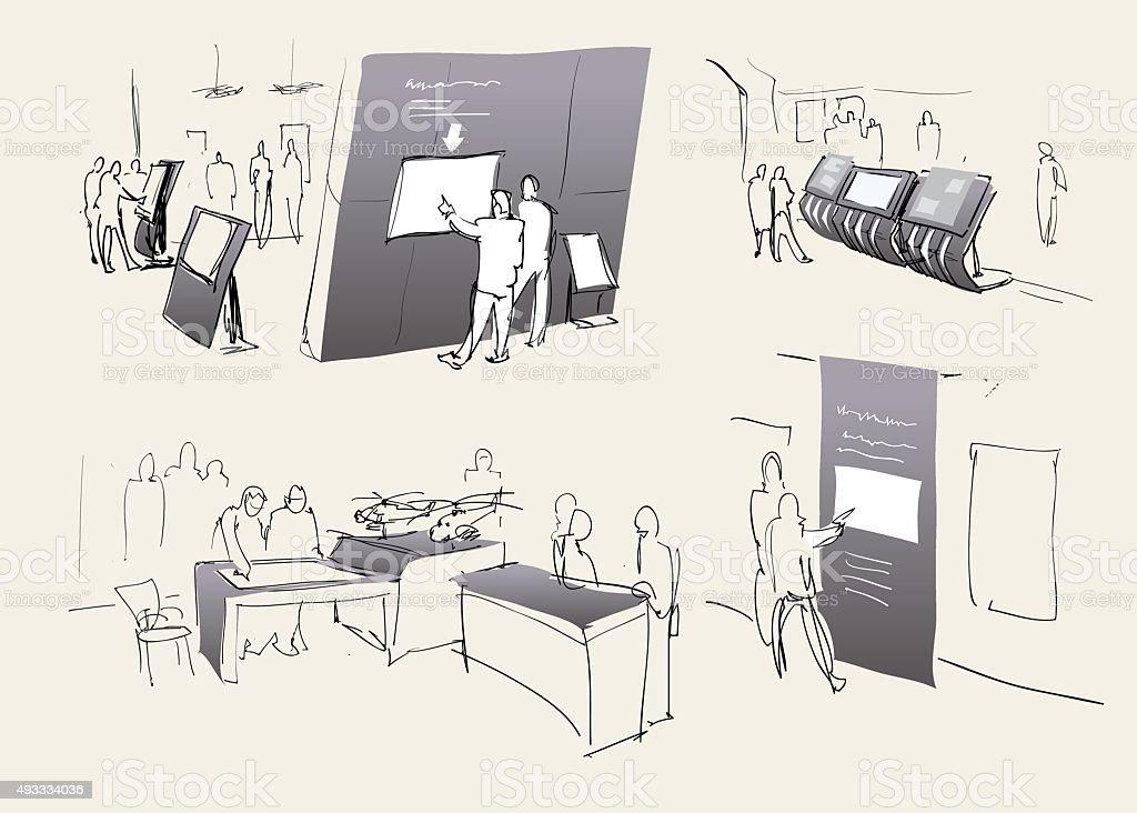 Exhibition, exhibition hall inside. Vector vector art illustration