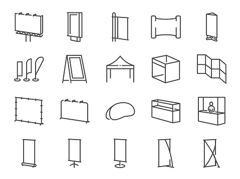 Exhibition line icon set. Included the icons as banner, backdrop, sign, bow flag, booth, advertising and more.