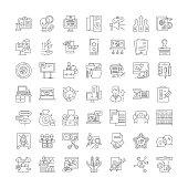 Exhibition line icons, signs, symbols vector, linear illustration set