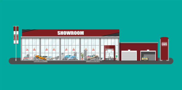 Exhibition pavilion, car dealership Exhibition pavilion, showroom or dealership. Car showroom building. Car center or store. Auto service and shop. Vector illustration in flat style showroom stock illustrations