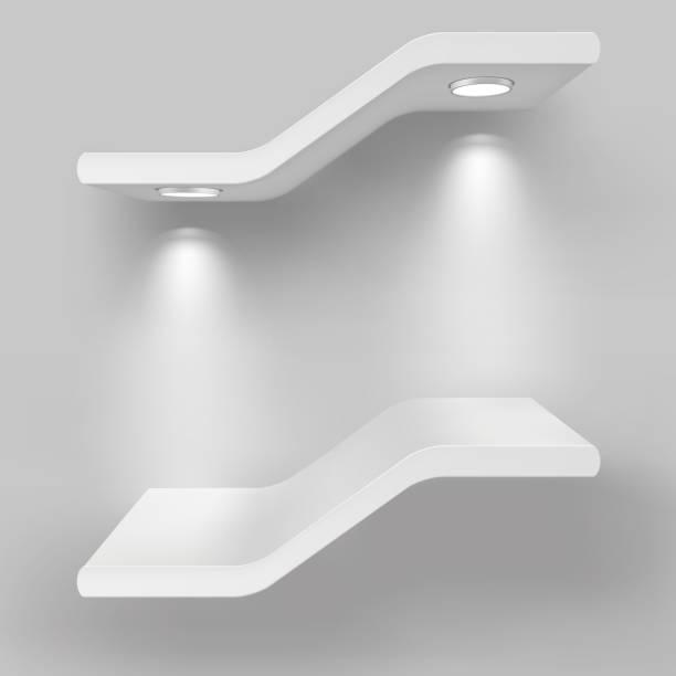 illustrations, cliparts, dessins animés et icônes de étagères d'exposition avec des sources lumineuses. illustration d'isolement sur le fond gris - enluminure bordure