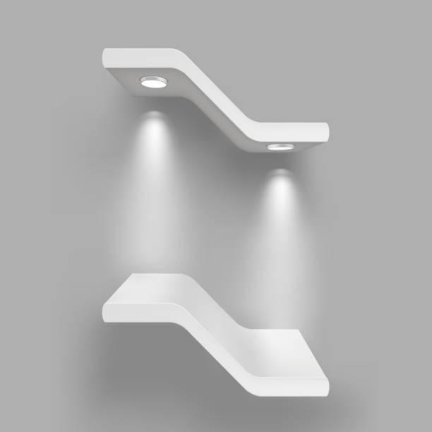 illustrations, cliparts, dessins animés et icônes de exposition les tablettes équipés de sources lumineuses. illustration isolé sur fond gris - enluminure bordure