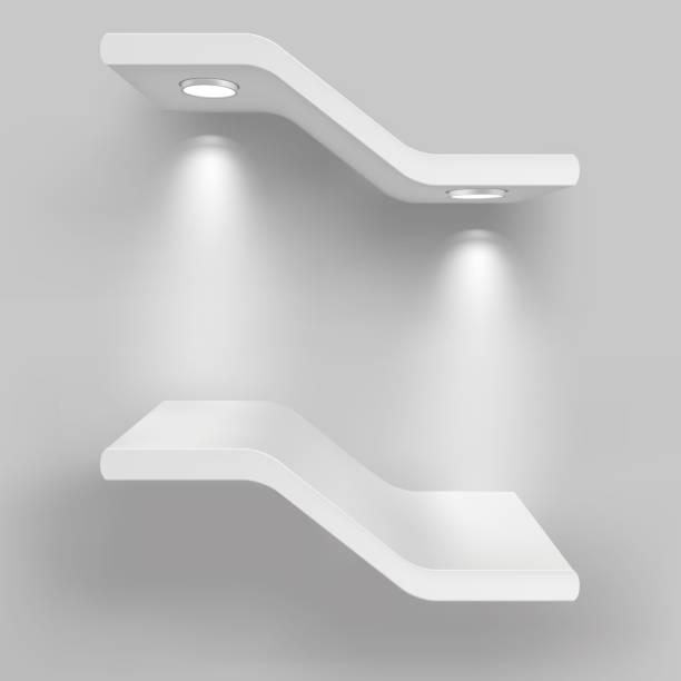 illustrations, cliparts, dessins animés et icônes de exposition les tablettes équipés de sources lumineuses. illustration isolé sur fond gris - vitrine magasin
