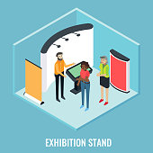 Exhibition stand concept vector flat 3d illustration. Isometric trade show booth display stand mockups, young man promoter and visitors.