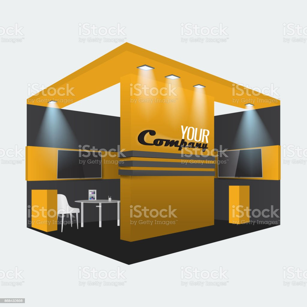 Exhibition Stand Design Vector : Exhibition stand display trade booth mockup design orange
