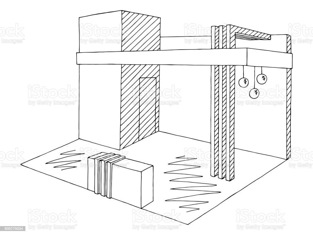 Exhibition Stall Vector : Exhibition stand graphic interior black white sketch