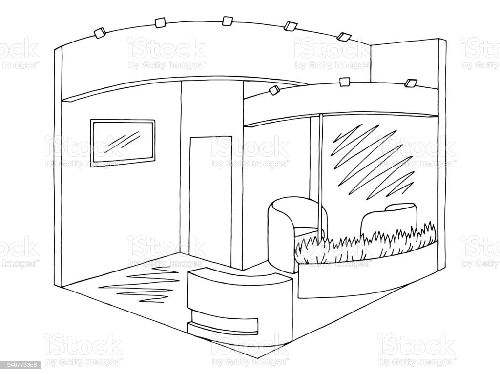 Vector de ilustración de exposición stand gráfica interior negro blanco bosquejo - ilustración de arte vectorial
