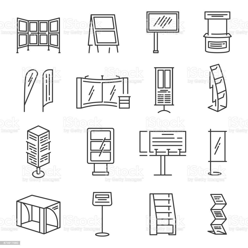 Exhibition stand icon set vector art illustration