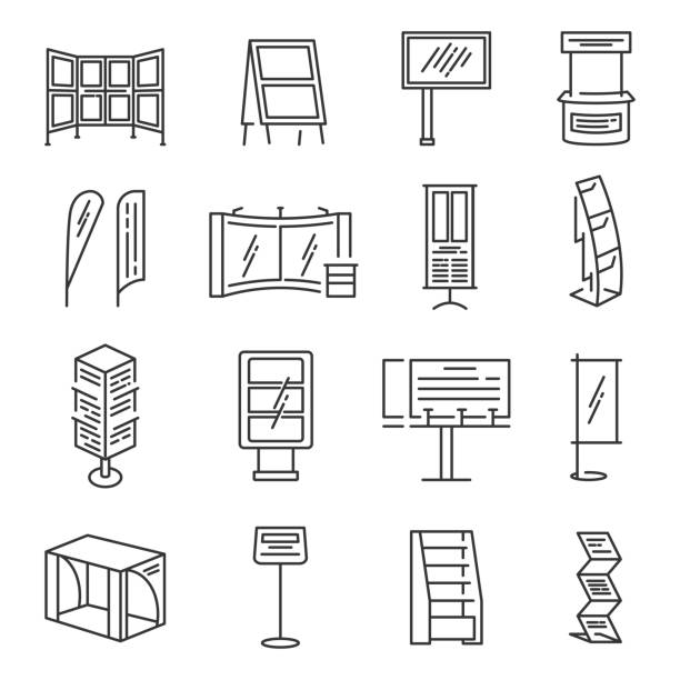 Exhibition stand icon set vector art illustration