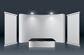 Expo stand concept on plain background