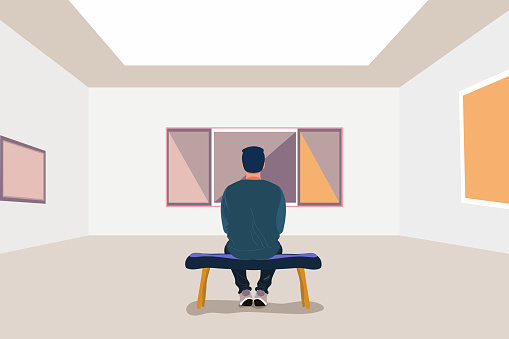 Exhibition visitor viewing paintings at art gallery. Man in the museum sits on a bench. Creative artworks for exhibition. Vector stock illustration in flat cartoon style. Delicate and vibrant colors.