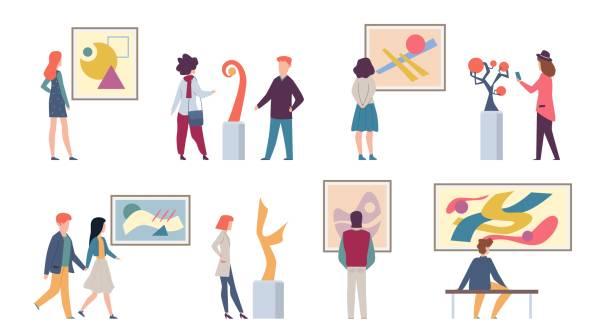 illustrations, cliparts, dessins animés et icônes de visiteurs de l'exposition. jeunes touristes regardant des peintures abstraites de mode d'art et prenant des photos dans le musée ou la galerie, illustration de vecteur - museum