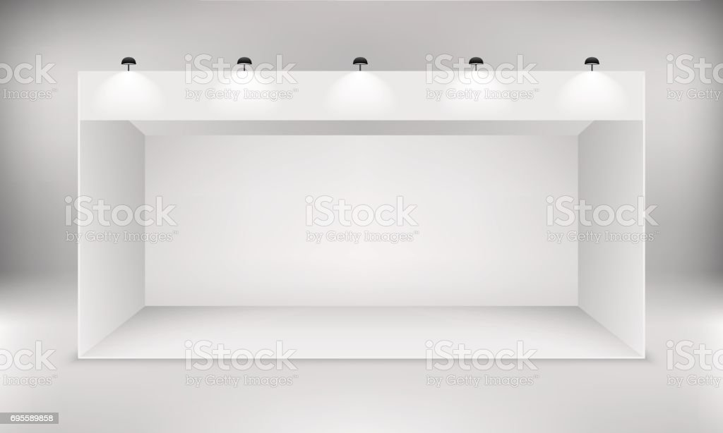 Exhibition white empty vector booth. vector art illustration