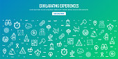 Exhilarating camping experiences outline style web banner design. Line vector icons for infographics, mobile and web designs.