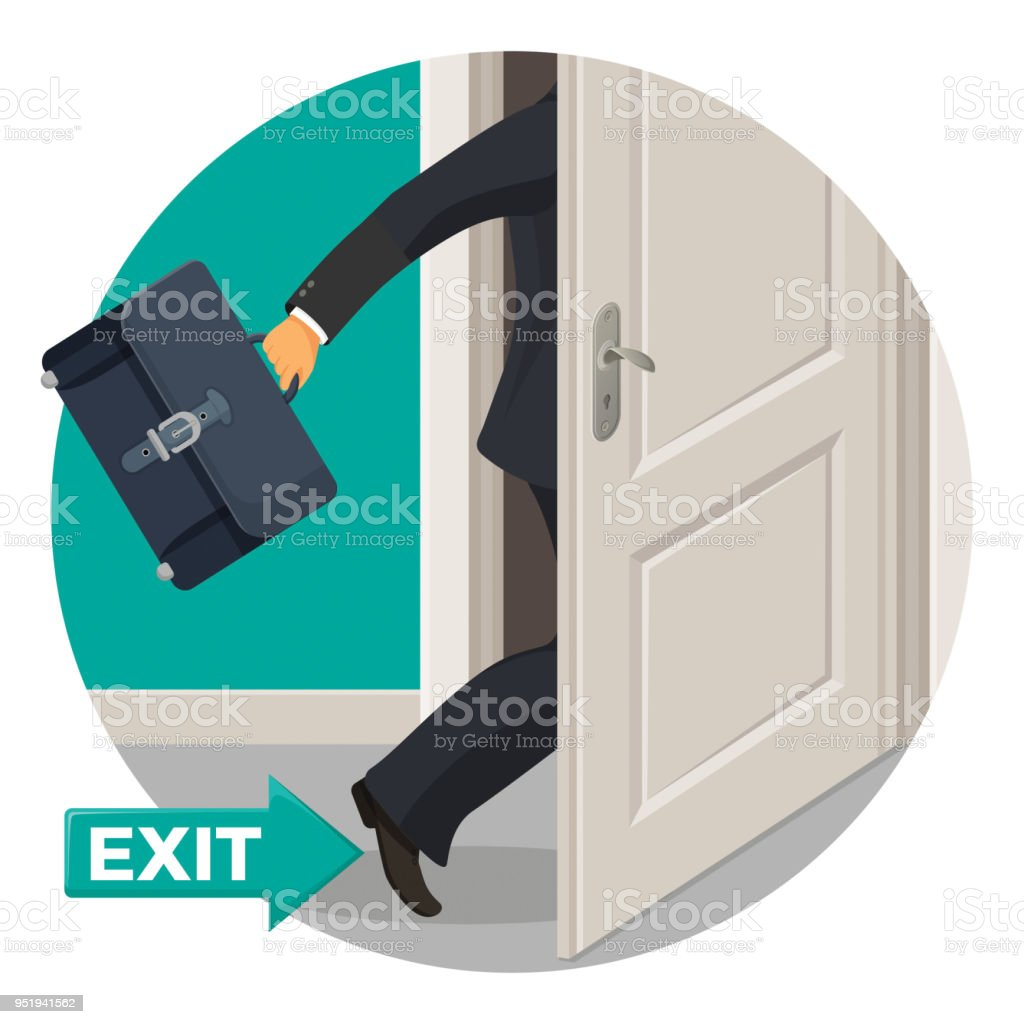 Exit door and bisunessman with leather briefcase that leaves vector art illustration