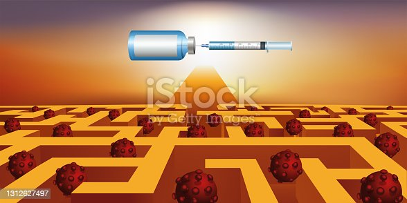 istock Exit from a maze towards vaccination against COVID-19. 1312627497