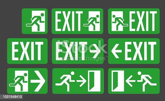 Exit green color signs set, emergency exit icon collection