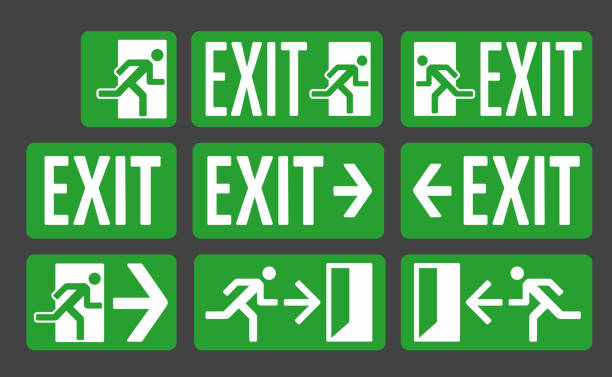 Exit green color signs set Exit green color signs set, emergency exit icon collection escaping stock illustrations