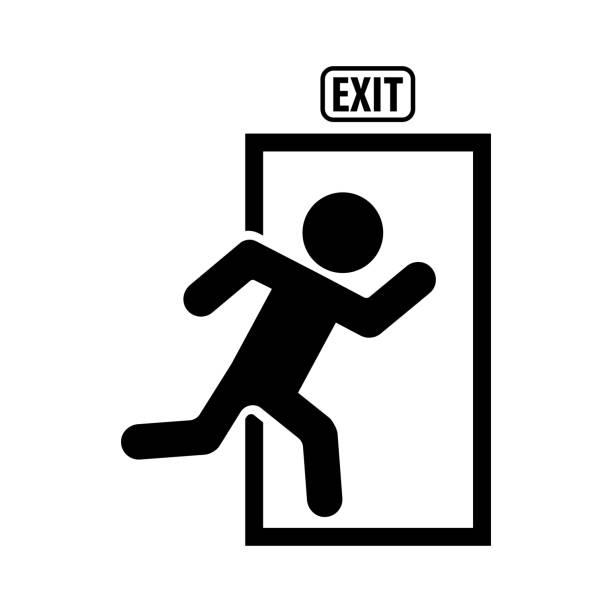 exit icon im trendigen flachen stil isoliert auf weißem hintergrund. symbol für ihre website-design, icon, ui-app zu verlassen. vektor-illustration. - laufführer stock-grafiken, -clipart, -cartoons und -symbole