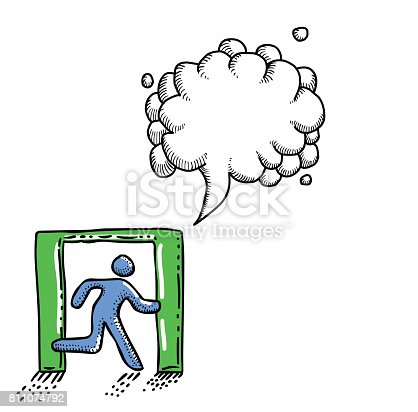 Cartoon image of Exit Icon. Leave symbol. An artistic freehand picture. With speech bubble.