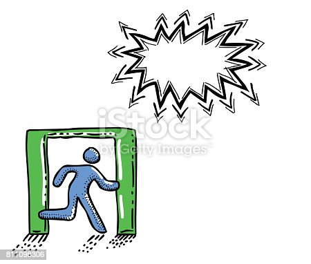 Cartoon image of Exit Icon. Leave symbol. An artistic freehand picture.