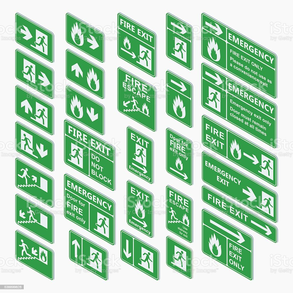 Exit isometric sign vector set isolated vector art illustration