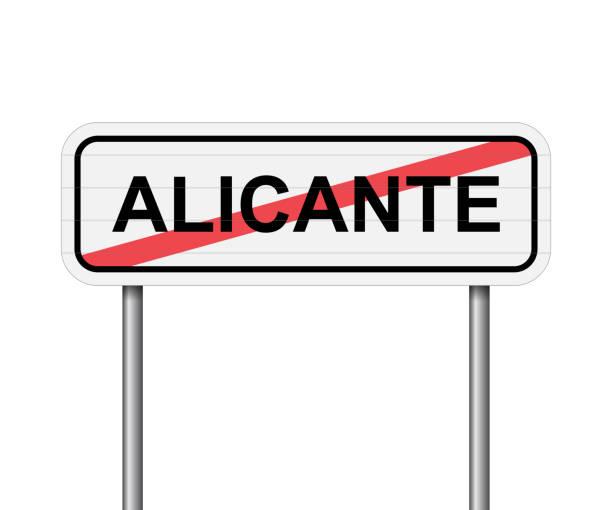 ausfahrt der straße zeichen vektor in alicante, spanien - alicante stock-grafiken, -clipart, -cartoons und -symbole