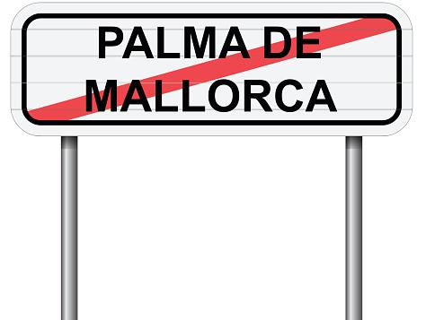 Exit of Palma de Malloca Spain road sign vector