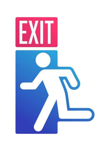 ilustrações, clipart, desenhos animados e ícones de porta do sinal da saída que sae do símbolo - escapismo