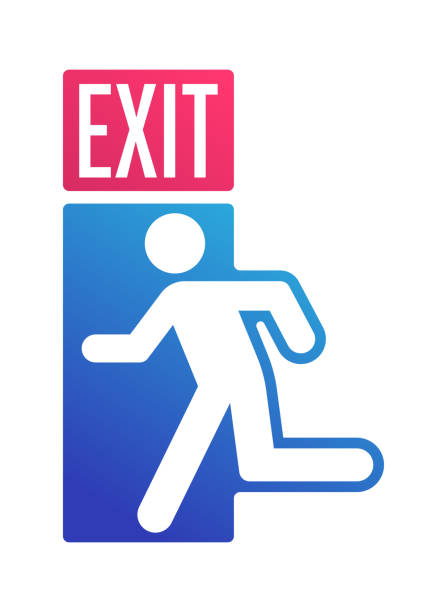 Exit Sign Door Leaving Symbol Exit symbol person leaving out of a door silhouette running out of a building. escaping stock illustrations