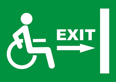 exit sign for disabled people, eps.