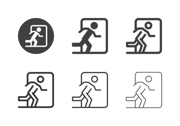 Exit Sign Icons - Multi Series vector art illustration
