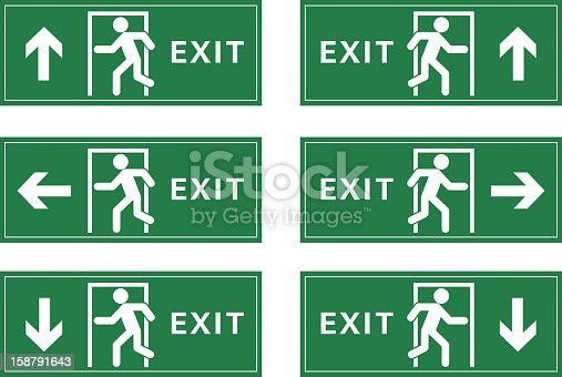 A group of exit sign