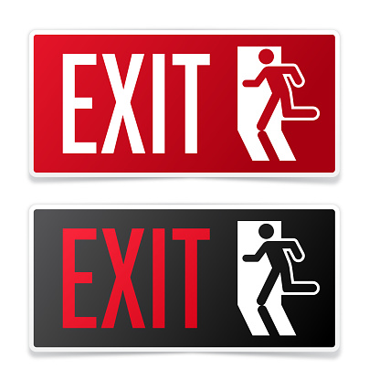 Exit information signs with silhouette running out of a building.
