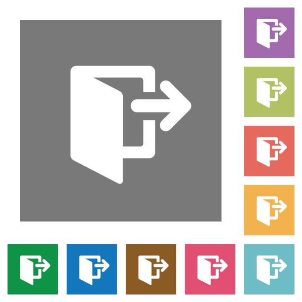 Ausfahrt quadratische flache Symbole – Vektorgrafik