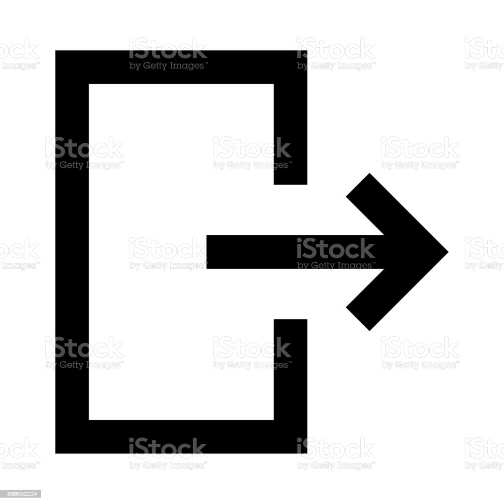 exit thin line vector icon vector art illustration