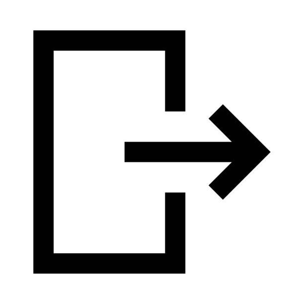 ilustraciones, imágenes clip art, dibujos animados e iconos de stock de salida delgada línea vector icono - despedida