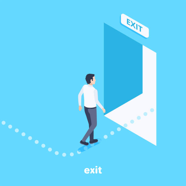 exit isometric vector image on a blue background, a man follows the indicated path to the exit through an open door, an escape route exodus stock illustrations